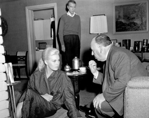 Hitchcock talks to Kim Novak. James Stewart listens too  VERTIGO