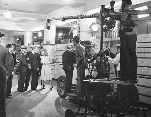 Charles Coburn, Jean Arthur ,director Sam Wood (with hat) to left of camera The Devil and Miss Jones