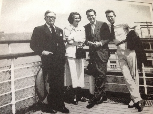 Claude Rains,Alida Valli,Glenn Ford, Lloyd Bridges on the Queen Mary crossing the Atlantic