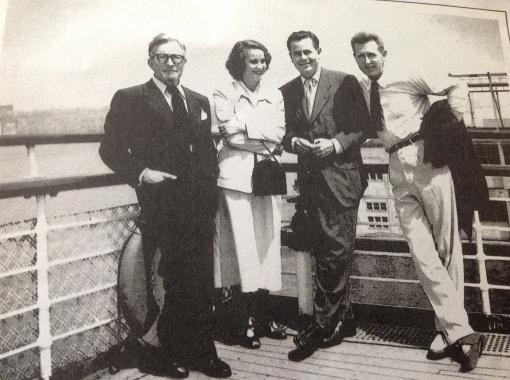 Claude Rains,Alida Valli,Glenn Ford, Lloyd Bridges on the Queen Mary crossing the Atlantic