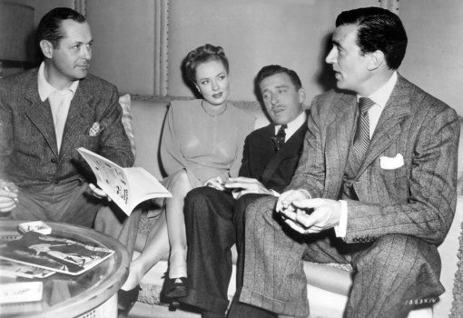 Robert Montgomery,Audrey Totter,Leon Ames get a visit from Walter Pidgeon on set of LADY IN THE LAKE