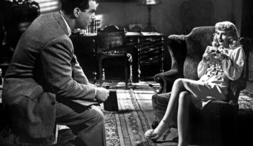 Watch out, Walter.You're hooked! Fred MacMurray, Barbara Stanwyck,Double Indemnity.