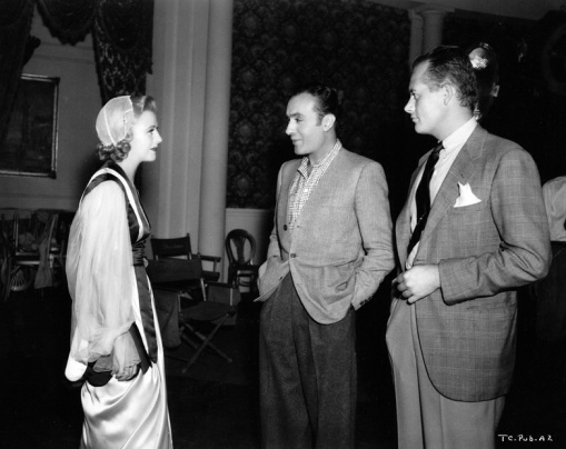 Ginger Rogers, Charles Boyer,H C Potter. On the set of The Story of Vernon and Irene Castle