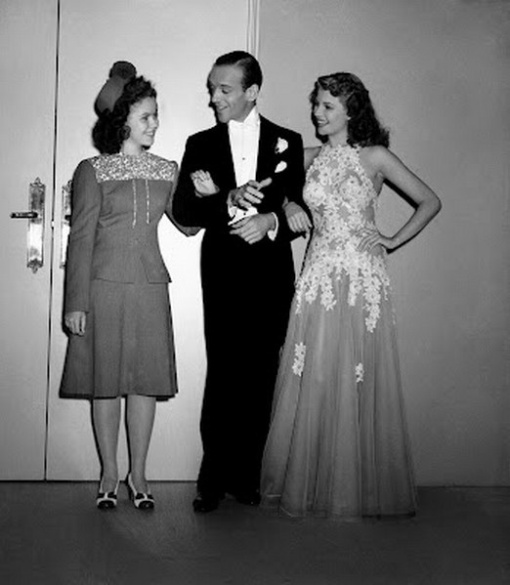 Visiting on the set with Fred Astaire and Rita Hayworth