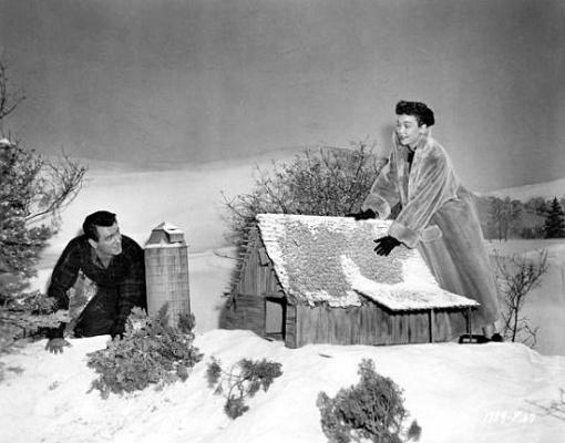 Rock Hudson, Jane Wyman. Miniature set for ALL THAT HEAVEN ALLOWS