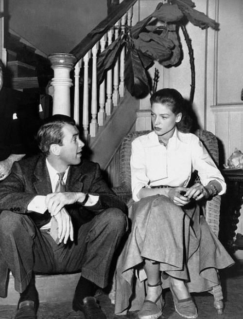 James Stewart visits Lauren Bacall on KEY LARGO