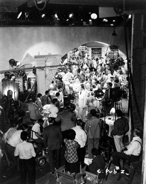 That famous setting, Rick's Cafe in CASABLANCA ,with Paul Henreid leading 'La Marseillaise'