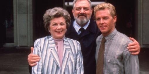 With Barbara's son,William Katt and Raymond Burr