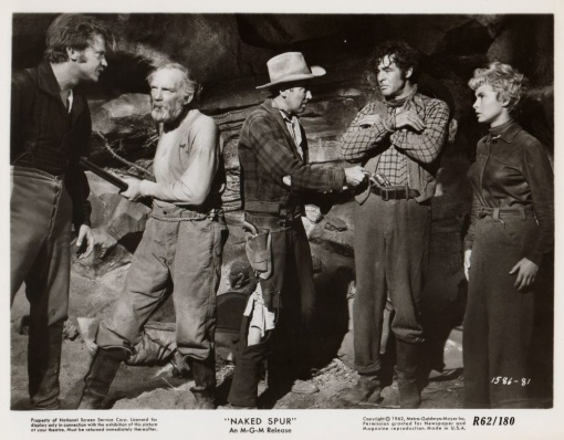 Millard Mitchell,James Stewart,Robert Ryan,Janet Leigh.THE NAKED SPUR
