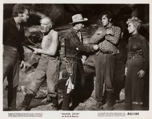 Millard Mitchell,James Stewart,Robert Ryan,Janet Leigh.THE NAKED SPUR