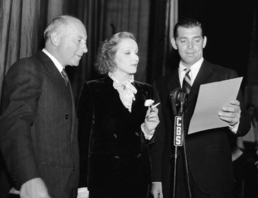 Cecil B. DeMil le, Marlene Deitrich, Clark Gable.
