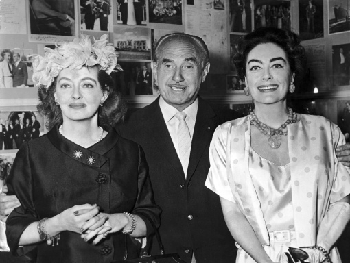 Jack Warner with Bette Davis and Joan Crawford, stars of the Warner Brothers film What Ever Happened to Baby Jane? 1962
