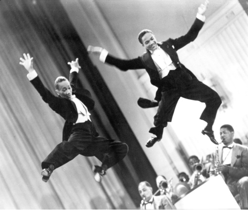 From left: Fayard Nicholas and Harold Nicholas in Andrew L. Stone'sStormy Weather(1943). Courtesy Photofest. A TRIBUTE TO THE NICHOLAS BROTHERS will screen at Film Forum on 9/19.